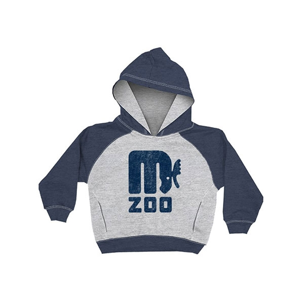 YOUTH HOOD SWEATSHIRT RETRO MOOSE HEATHER NAVY