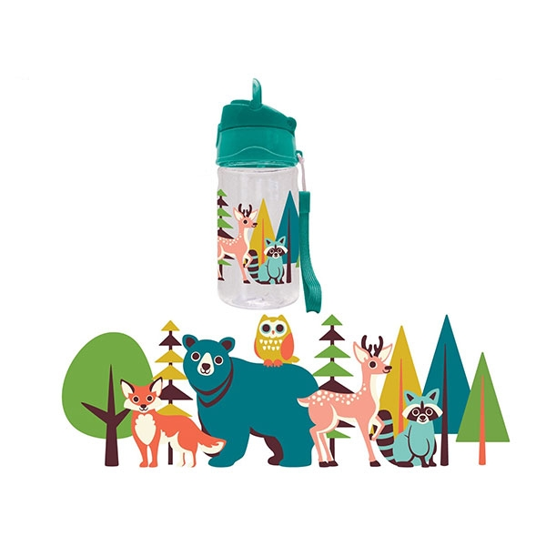 BOTTLE FOREST ANIMALS FLIP TOP STRAW