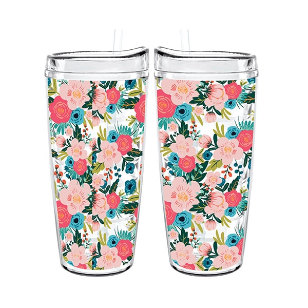 TUMBLER CLEAR BOTANICAL TIGRESS