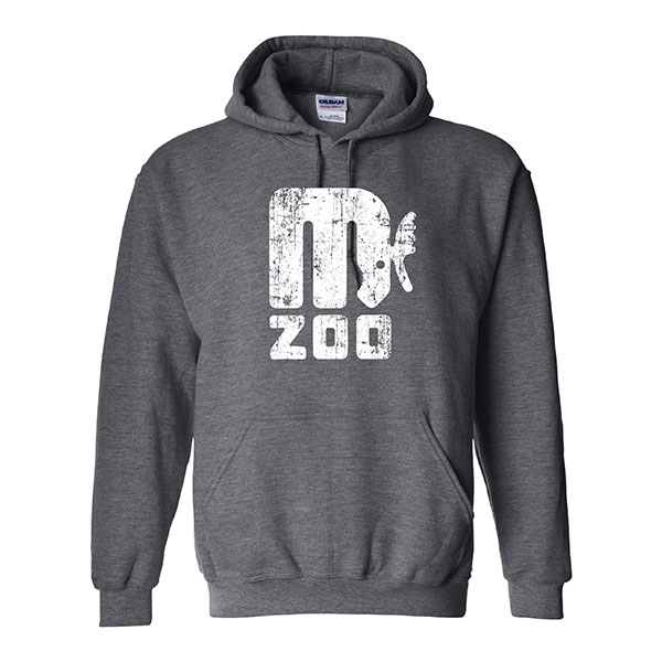 ADULT HOOD SWEATSHIRT RETRO MOOSE DARK HEATHER